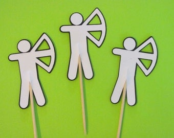 12 Archer cupcake toppers-appetizer picks-archery toppers, hunger games inspired