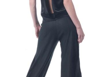 Stretch cotton glossy linen original Capri pants