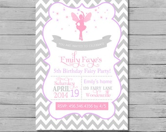 Chevron Fairy Birthday Invitation - DIY Custom Printable