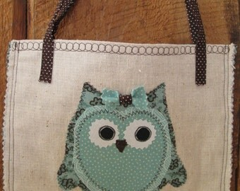 Child Girl Owl Purse Aqua Teal Brown Cotton Fabric Osnaburg Fabric Embroidery Brown White Polka Dots Handles Straps