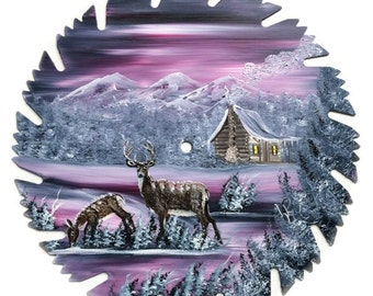 Hand Painted Saw Blade Mountain Winter Mauve Cabin and Deer