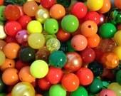 Vegetable Garden Bead Detash-100 pieces Round Acrylic Beads Mixed Sizes Colors