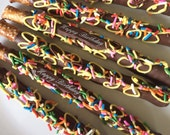 Birthday Party Pretzels - Gourmet Chocolate Dipped Pretzels 1 Dozen - Q's Goodies
