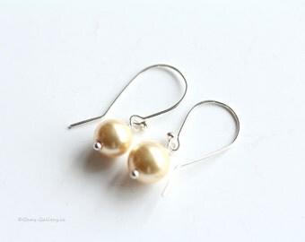 Cream Pearl Earrings, Bridal Earrings, Sterling Silver Wedding Jewelery