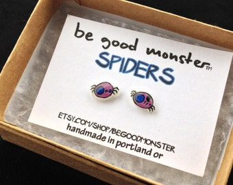 Spider Monster Earrings  - Studs -  Shrinky Dink - Shrink Plastic