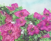 Fun Flowers and Mice Decorative Textured Mixed Media Collage Art by Niki Hilsabeck