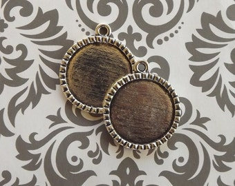 50 1 Inch Round Cameo Settings Antique Silver Finish, 1 inch Pendant Blanks Bottle Cap Style for Glass or Epoxy Stickers