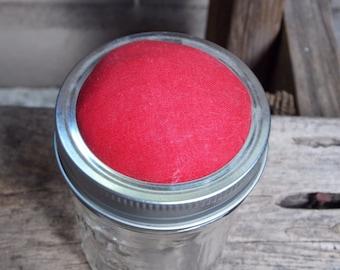 Red Top 4oz pincushion jar