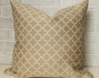 Neutral Tan Taupe Geometric Pillow Cover, 18 inch oatmeal tan quatrefoils