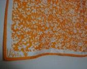 Vintage VERA Scarf Orange White Flowers Large Square Scarf