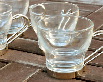 4 Italian Glass and Metal Espresso Cups