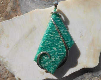 SOLD Amazonite Silver Wrapped Pendant