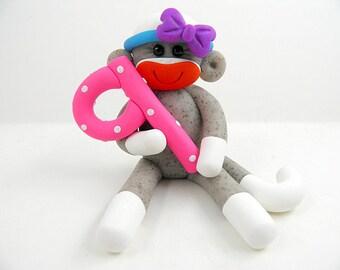 Girl Sock Monkey Birthday Party Cake Topper Polymer Clay