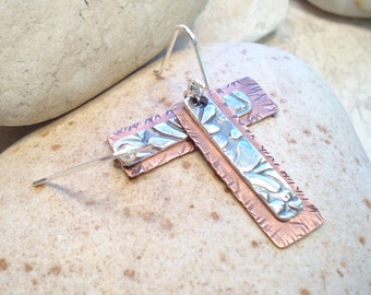 Rustic Tribal Boho Mixed Metal Fine Silver Copper Earrings