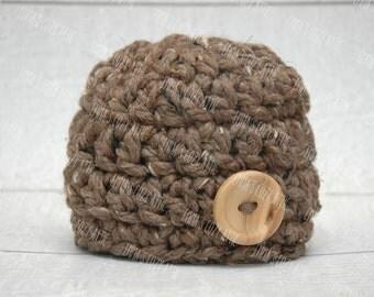 Baby boy hat newborn boy prop chunky beanie hat photography photo prop crochet boy hat barley brown with button