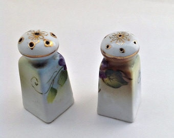 Vintage Salt and Pepper,  Violet and Gold Trimmed , Petite, Collectible, Made in Japan