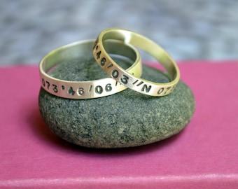 Latitude and Longitude Ring Set in Sterling Silver Wedding Set