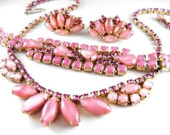 Vintage Necklace Bracelet Earring Set Cotton Candy Pink Rhinestones 1950s Classic