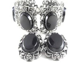 Emmons Bracelet Earring Set Black Cabs Silver Tone Metals Ornately Designed Vintage Jewelry