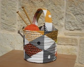 FABRIC BASKET, knitting basket, toy basket with handle quilted canvas in grey, orange, white and black