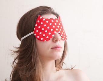 Polka dot Sleep Mask, Cat, bridesmaid gift