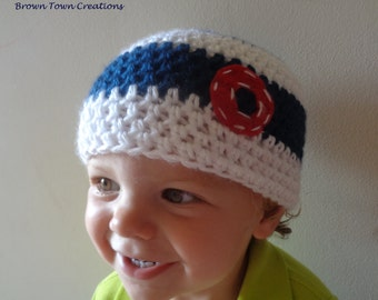 Personalized Baby Boy Beanie- Crochet Baby Boy Hat- Navy and White- MADE TO ORDER