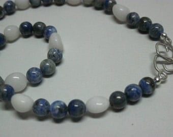 "Denim Lapis and White Agate Necklace, 17.5"" necklace"