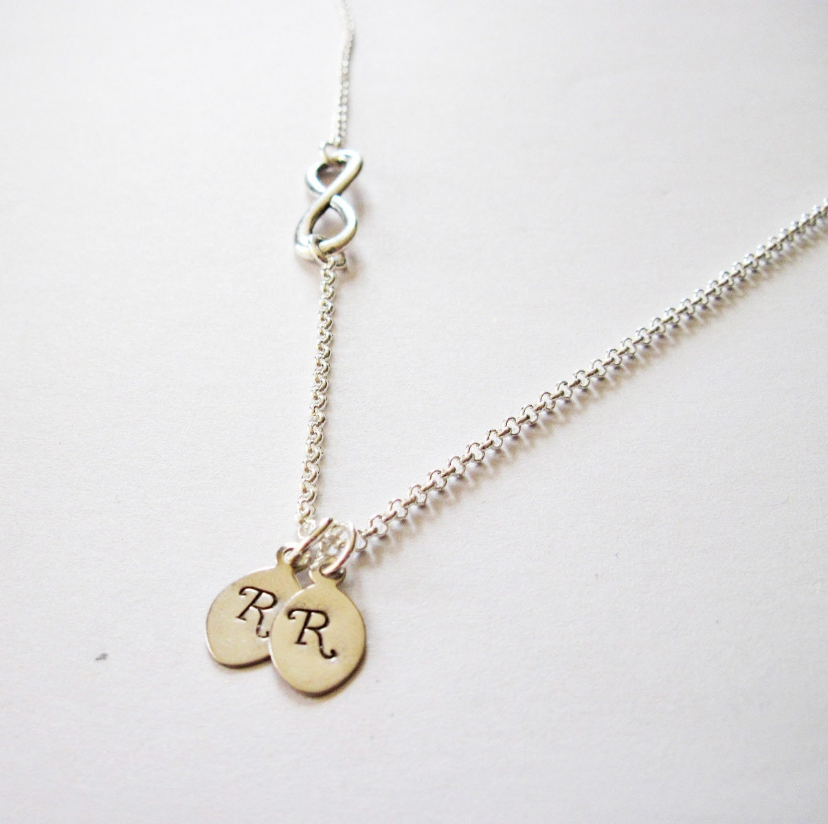 infinity necklace with initial charm sideways infinity