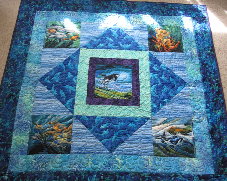 PDF Pattern Ocean Panels lap medallion quilt using printed