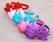 Custom Order - Eight bow hard headbands -grosgrain ribbon bow and wrapped hard band pink purple red turquoise