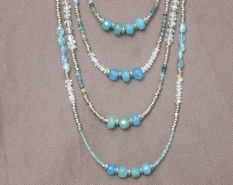 Necklace-Beaded Necklace-Gemstone Necklace-Gemstone Jewelry-Mixed Gemstone Necklace-Turquoise Blue Necklace-Apatite-Goshenite-Chalcedony