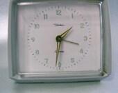 Vintage White Alarm Clock 1960s 70s, Retro German Wind-Up Alarm Clock, Works perfectly, brand Diehl (Ruhla)