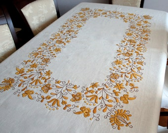 Very big traditional kashubian embroidered tablecloth, natural ligh cream linen.