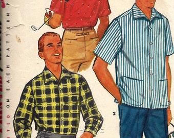 VTG 1950's Men's Sport Shirt Pattern, Simplicity 1407, Size 34-36
