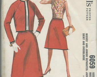 McCall's 6059 Misses Separates Pattern, Jacket, Skirt and Overblouse, Size 12