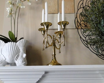 Vintage Candelabra Brass Horn Four Arm Candle Holder Bright Gleaming Golden Sturdy Brass Table Centerpiece Year Round Entertaining Lighting