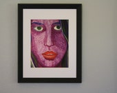 Jocelyn - 8x10 Fine Art Giclee Print - Purple - Lavender - Woman - Painting - Blue - Romantic