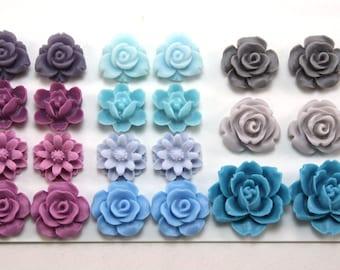 22 pcs Resin Flower Cabochons Assorted Sizes Sampler Pack - January Blues
