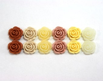 12 pcs Resin Flower Cabochons - 10mm Camellias - Orange and Creams - Matte Mix