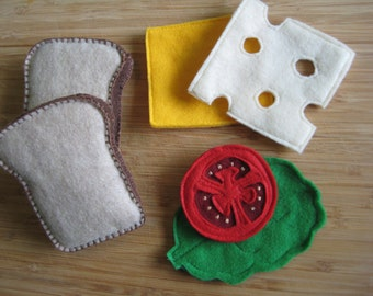 Handmade Felt Play Food Sandwich Lettuce, Cheese, Tomato, Bread