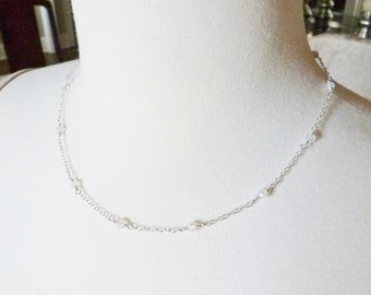 Moonstone Necklace / White Moonstone / SimplyJoli / Rosary Style / Layering Necklace / Sterling Silver