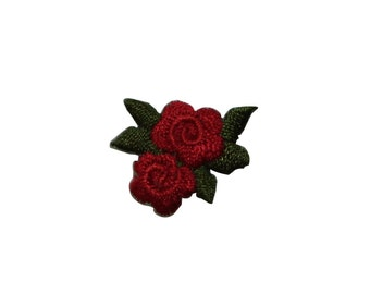 ID #6667 Red Rose Blossoms Flowers Iron On Embroidered Patch Applique