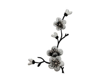 ID #6823 Black White Silver Flowers on Branch Iron On Embroidered Patch Applique