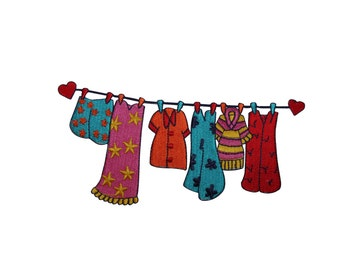 ID #7841 Heart Drying Clothes Line Fashion Iron On Embroidered Patch Applique