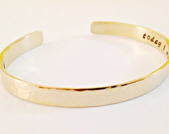 Personalized Hand Stamped Nu-Gold Cuff Bracelet - Custom Secret Message Jewelry - Red Brass Gold Toned Mommy Wedding Sister Anniversary Gift
