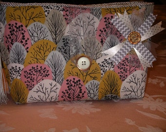 Gray, Gold, and Pink Trees Clutch bag