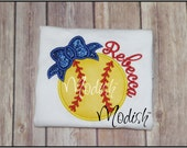 Softball Bow Girly Custom Personalized Appliqued Embroidered shirt