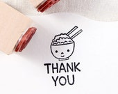 50% OFF SALE cute rice & thank you Rubber Stamp set (20mm)
