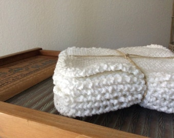 One Half Dozen Snowy White Hand Knit UTILITY CLOTHS