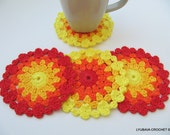CROCHET COASTER PATTERN, Colorful Coasters, Easter Decor, Spring Home Decor, Summer Crochet, Diy Craft, Instant Download Pdf Pattern No.120